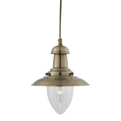 Searchlight 5787ab Fisherman 1 Light Antique Brass Pendant