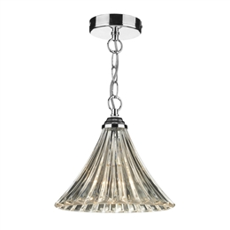 DAR Lighting ARD0150 Polished Chrome Suspension With Clear Ribbed Glass