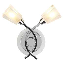 Dar AUS0950 Austin Twin Wall Light in Polished Chrome finish.