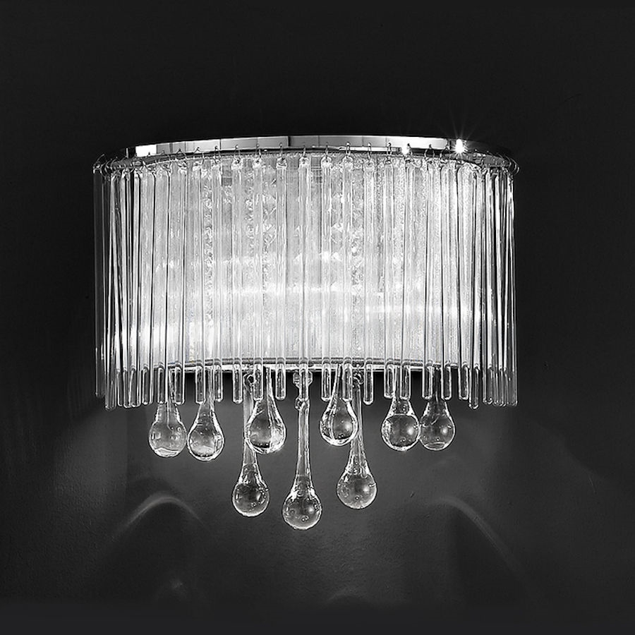 Franklite Crystal Wall Lights : Franklite FL2161/2 Spirit Wall Light with Crystal Drops.