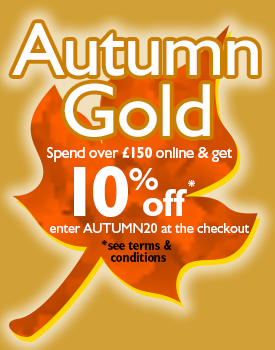 Spend over £150 in a single transaction and get 10% off* Enter code AUTUMN20 at the checkout