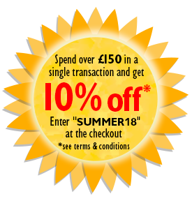 Cracking Prices - Spend over £150 in a single transaction and get 10% off* - Enter code SUMMER18 at the checkout
