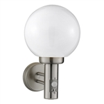 Searchlight 085 Globe Stainless steel exterior wall light with Motion Sensor