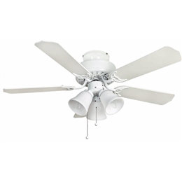 Euro Fans Belaire Ceiling Fan 42 inch White with Light 110477.