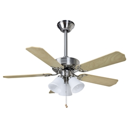 Euro Fans Belaire Ceiling Fan 42 inch Brushed Nickel with Light 114239.