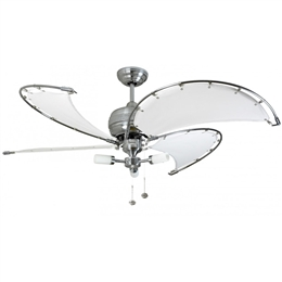 "Fantasia 114802 52"" Stainless Steel/White Spinnaker Ceiling Fan"