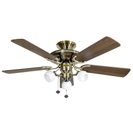Fantasia Mayfair Ceiling Fan 42 inch Antique Brass with Light 115489
