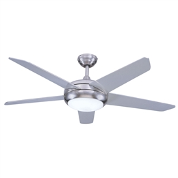 Euro Fans Neptune Ceiling Fan 54 inch Brushed Nickel with LED Light 115854
