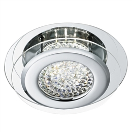 Searchlight 1692CC Vesta Chrome finish LED flush light with Crystal Decoration