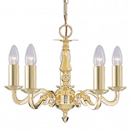 Searchlight 2175-5NG Seville 5 Light Polished Brass Ceiling Fitting.