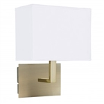 Searchlight 5519AB Wall Light with White Rectangular Fabric Shade