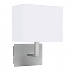 Searchlight 5519SS Wall Light with White Rectangular Fabric Shade