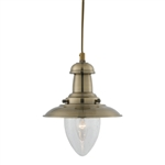 Searchlight 5787AB Fisherman 1 Light Antique Brass pendant lamp
