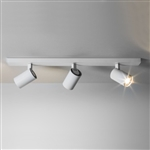 Astro 6144 Ascoli Triple Spotlight Bar in Textured White Finish.