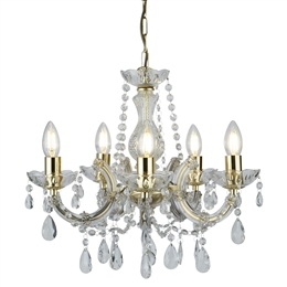 Searchlight 699-5 Marie Therese 5 light chandelier in polished brass