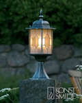 Konstsmide 7246-759  Milano Gate Post Lantern in Black/Silver finish