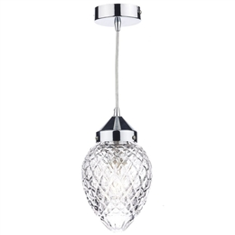 Dar Lighting AGA0150 Agatha Chrome and Glass Pendant