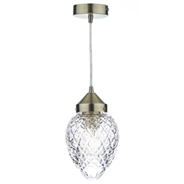 Dar Lighting AGA0175 Agatha Antique Brass and Glass Pendant