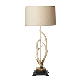 David Hunt Lighting ANT4215 Antler Bleached finish Table Lamp with Cream Shade