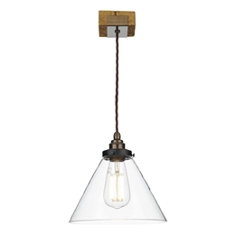 David Hunt ASP0129 Aspen Single Ceiling Pendant with Clear Glass Shade