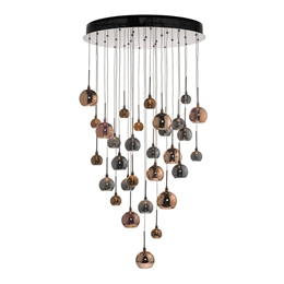 Dar AUR3364 Aurelia 30 Light Spiral Pendant in Black Chrome finish