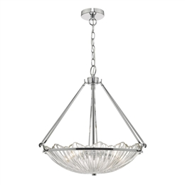 Dar AVR0350 Avril 3 Light Pendant with Ribbed Glass