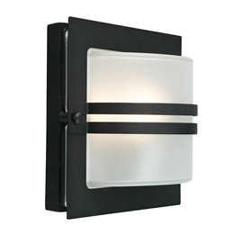 Elstead BERN E27 BLK F Exterior Wall Light in Black finish with Frosted Glass