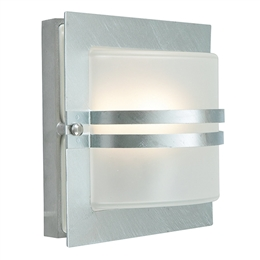 Elstead BERN E27 GAL F Exterior Wall light in Galvanised finish with Frosted Glass