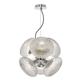 Dar Lighting BIB0650 Bibiana 6 Light Pendant with Clear glass and polished chrome finish