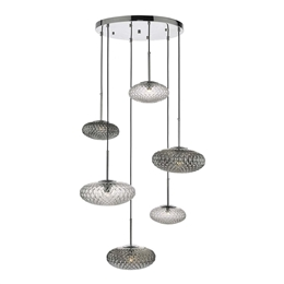 Dar Lighting BIB6450 Bibiana 6 Light Pendant with Clear and Smoked Textured glass