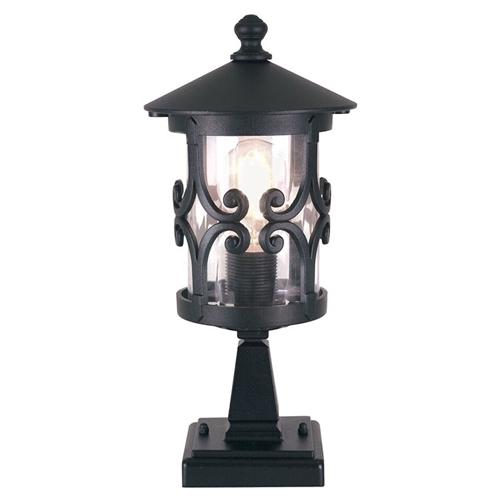 Warwick Pedestal Lantern Light Black: Elstead BL12 Hereford 1 Light Pedestal Lantern In Black Finish