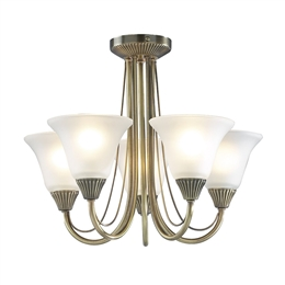 Dar BOS05 Boston 5 Light Fitting in Antique Brass Finish