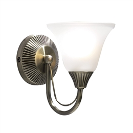 Dar BOS07 Boston Single Wall Light in Antique Brass Finish.