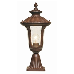 Elstead CC3/S Chicago Small Pedestal Lantern in Rusty Bronze Patina.