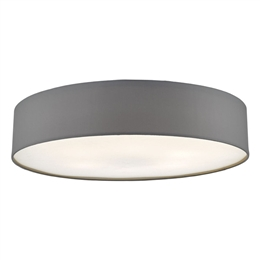 Dar CIE4839 6 Light Flush Ceiling Fitting with a Grey Drum shade