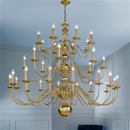 Franklite CO41732PB Delft 32 Light Polished Brass Chandelier