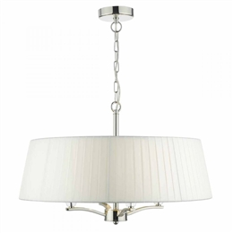 Dar Lighting CRI042 Cristin 4 Light Pendant in Polished Nickel finish with Ivory Ribbon Shade
