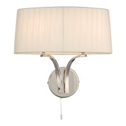 Dar Lighting CRI092 Cristin 2 Light Wall Light in Polished Nickel finish with Ivory Ribbon Shade