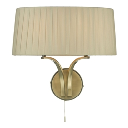 Dar Lighting CRI0929 Cristin 2 Light Wall Light in Antique Brass finish with Taupe Ribbon Shade