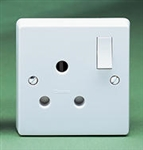 Crabtree 15 Amp Round Pin Switched Socket - White