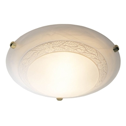 Dar DAM482 Damask Large Flush Ceiling Light with Polished Brass trim.