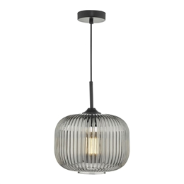 Dar Lighting DEM0110 Demarius Smoked Glass Pendant