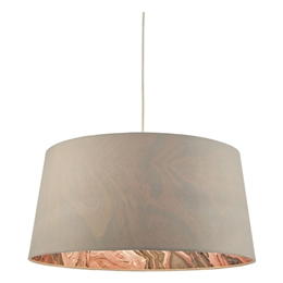 Dar DOL6539 Dolores Grey Faux Silk Easy fit Non Electric Pendant