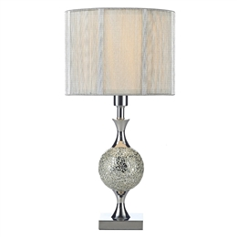 Dar ELS4239 Elsa Silver Mosiac and Chrome Table Lamp