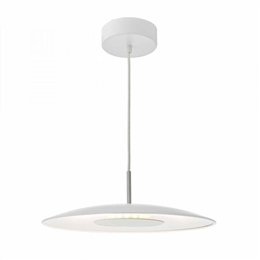 Dar ENO012 Enoch LED Pendant in White and Stainless Steel finish