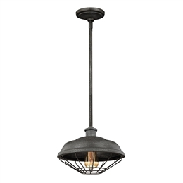 Elstead FE/LENNEX/P 1 Light Pendant in Slated Grey Metal finish