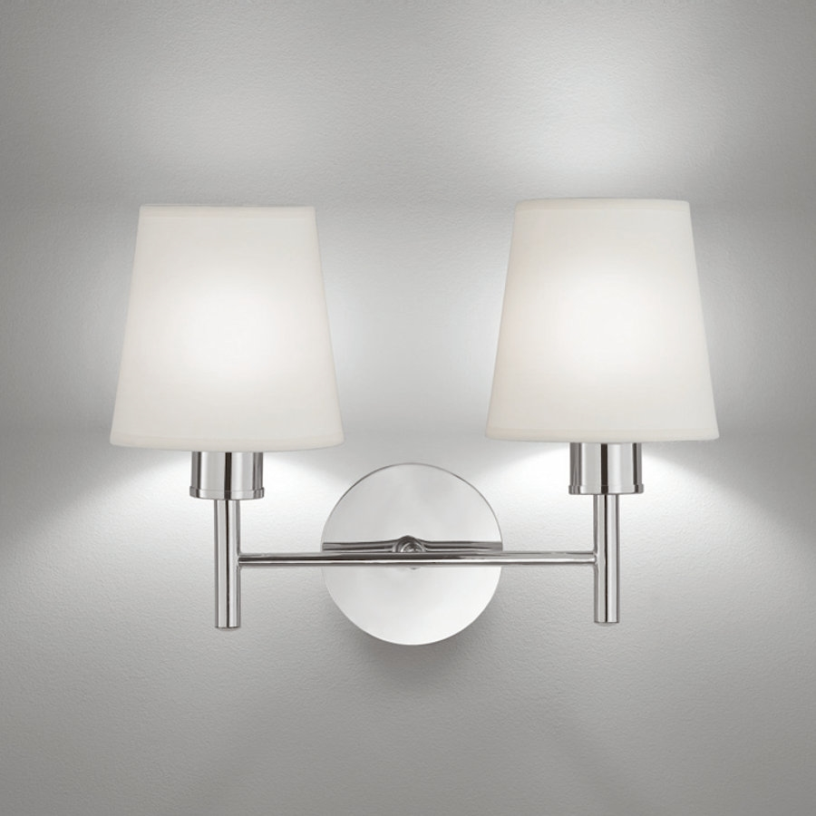 franklite fl2126 2 1123 zing twin wall light with cream shades