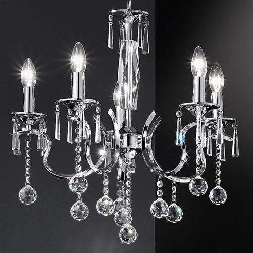 Franklite Fl2155 5 Taffeta 5 Light Crystal Chandelier