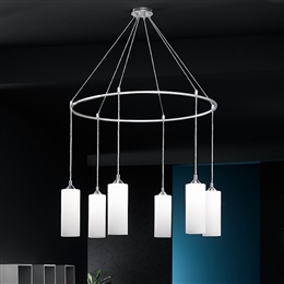 80d7fc5935e ... Franklite FL2199 6 887 Modern 6 Light Pendant with Opal Glasses.
