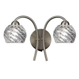 Hull Lighting FL2357/2 Vortex Twin Wall Light in Satin Nickel finish.